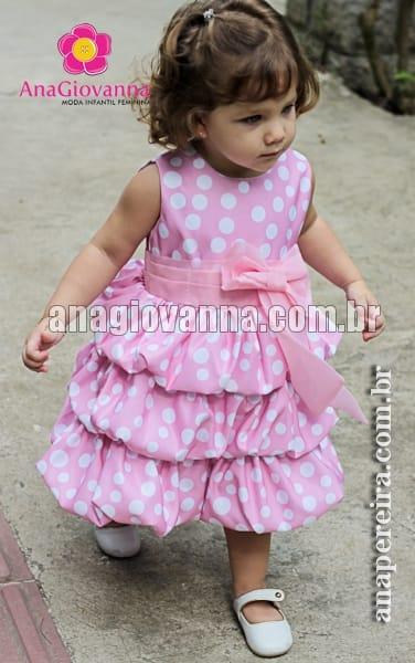 Vestido da Minnie Rosa Balonê com Bolas Pequenas