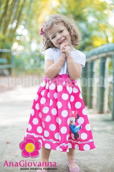 vestido da minnie branco e rosa
