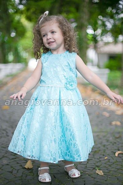 vestido infantil de renda verde