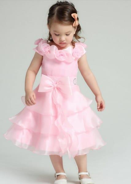 Vestido infantil de festa laço de fita