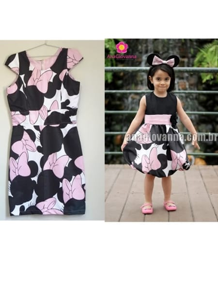 Vestidos Mãe Filha Minnie Mouse Rosa