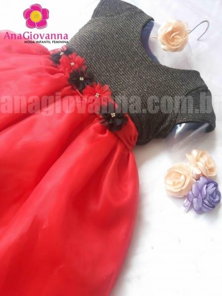 Vestido Infantil de festa princesa preto com vermelho