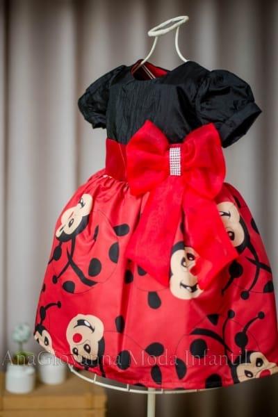 Vestido da Joaninha Infantil 1 a 6 anos