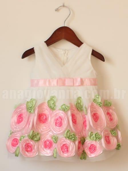 vestido infantil de festa flores
