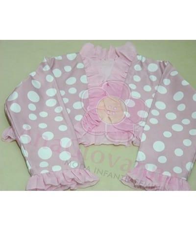 bolero rosa de bolinha branca