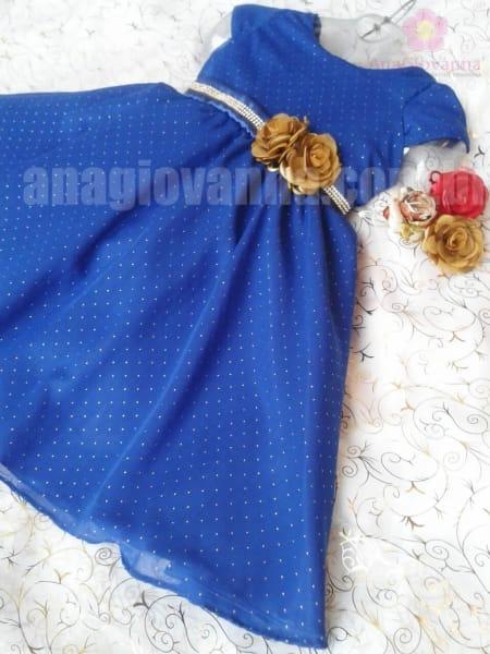 Vestido Infantil de Festa Azul Princesa