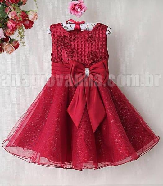 Vestido Infantil de Festa Vermelho Vinho
