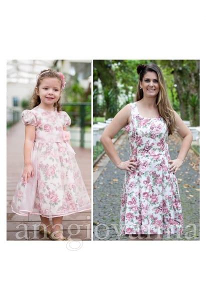 Vestidos M�e e Filha Floral