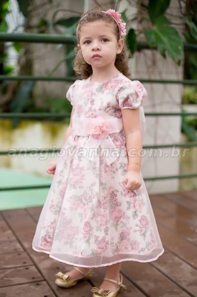 Vestido Infantil Floral de Princesa com Organza