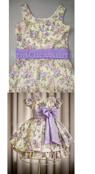 Vestidos M�e e Filha Floral Lil�s