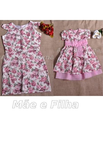 vestidos mãe e filha flora rosa