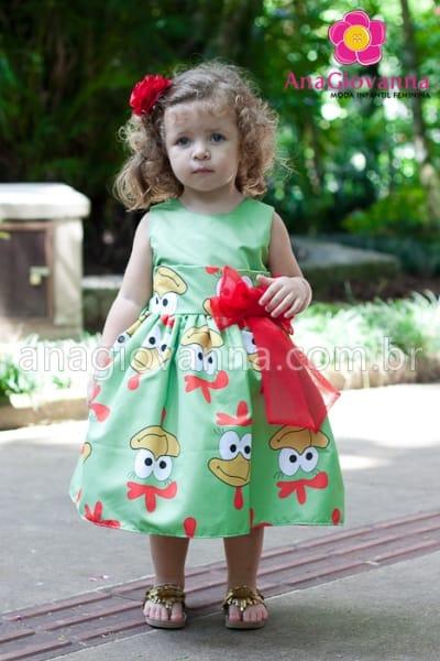 vestido galinha pintadinha verde