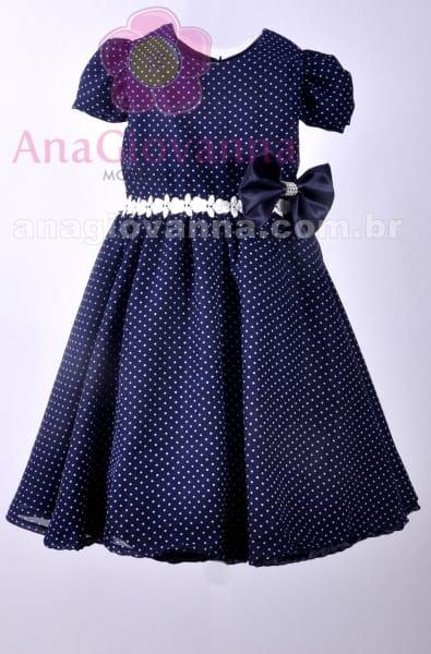 Vestido de festa infantil azul marinho