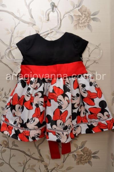 Vestido infantil Minnie 2 a 6 anos