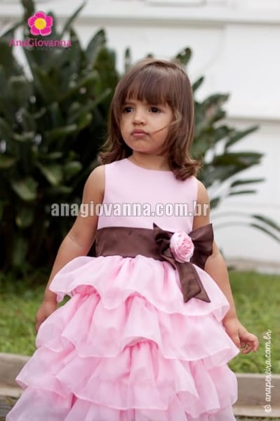 Vestido de Princesa Infantil Marrom e Rosa