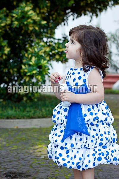 Vestido Infantil Branco com Azul