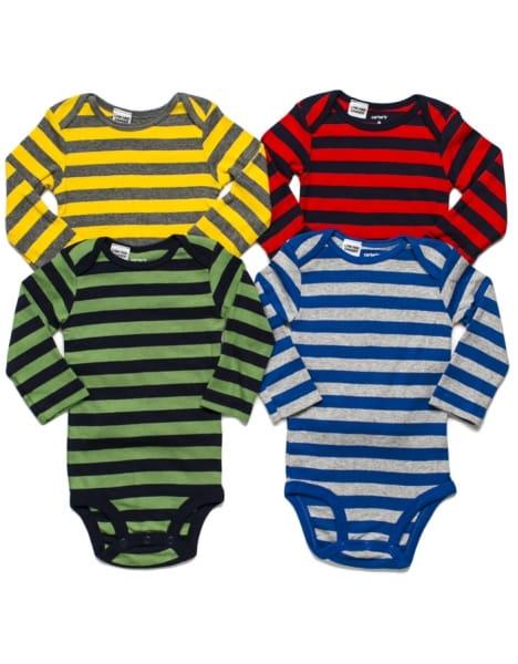 Conjunto bebê menino Carters Body Listras 4 peças 6 meses