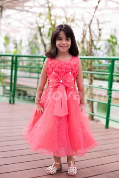 vestido princesa rosa salm�o