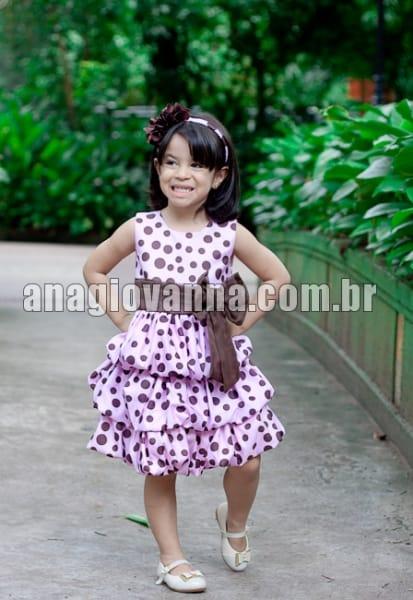 Vestido Infantil Rosa Balonê com Poá Marrom