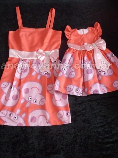 vestidos mãe e filha peppa pig