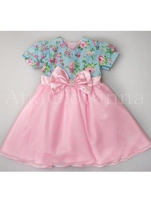 Vestido Infantil Princesa Floral com Rosa