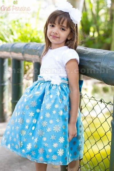 Vestido Infantil de Festa Frozen com busto de renda
