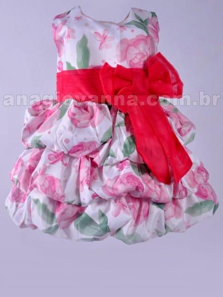Vestido Balonê Infantil Floral Rosa
