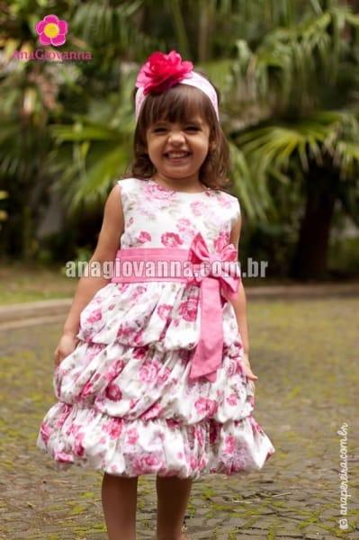 Vestidinho Infantil Rosa Floral