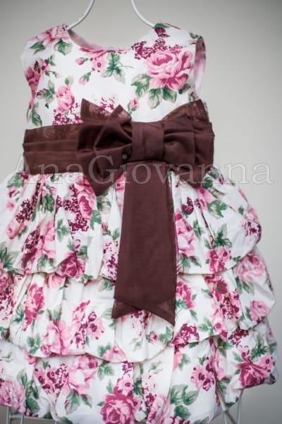 Vestido Infantil Floral Marrom com Rosa e Verde