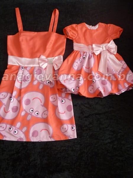 vestidos mãe e filha peppa