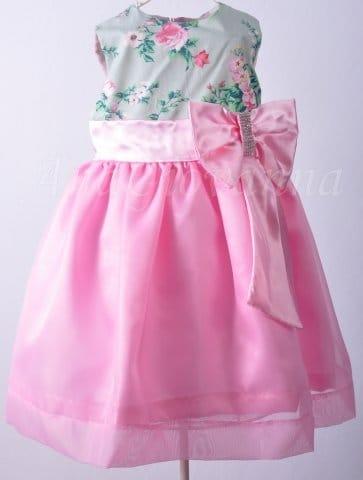 Vestido de Festa Infantil Floral Verde