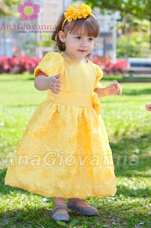 vestido infantil amarelo luxo