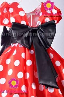 Vestido de festa infantil da Minnie costas