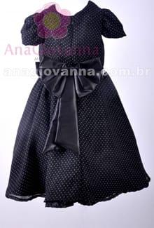 Vestido de festa infantil preto detalhe costas
