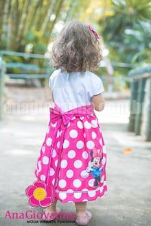 vestido minnie mouse branco com rosa