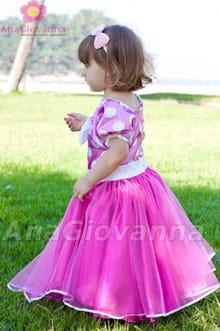 vestido infantil minnie rosa luxo
