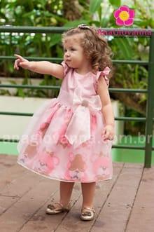 vestido ursos marrom e rosa