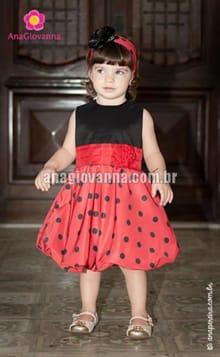 vestido infantil vermelho de bolinhas pretas