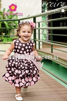 Vestido marrom e rosa para bebe