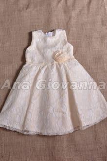 vestido infantil de renda bege