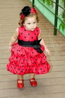 Vestido Minnie Vermelha infantil balonê