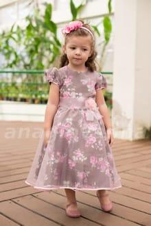 Vestido Infantil de festa Marrom e Rosa