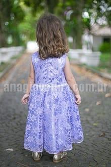 vestido infantil de renda lilas