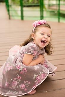 Vestido de festa infantil Marrom e rosa
