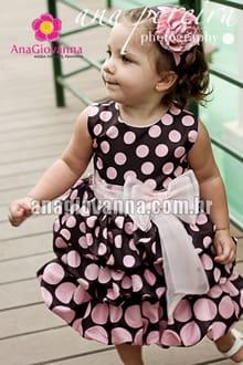 Vestido infantil marrom com rosa