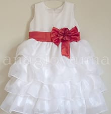 Vestido Infantil Branco com Laço Vermelho