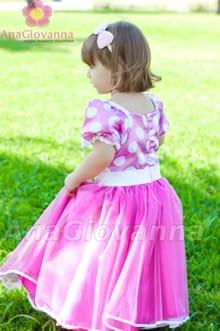 vestido infantil minnie rosa princesinha