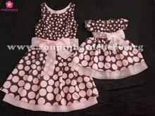 Vestidos Tal Mãe Tal Filha Marrom e rosa