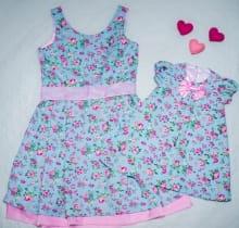 Vestidos de Festa Mãe e Filha Floral Azul