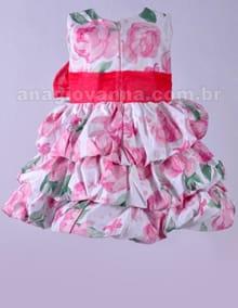 Vestido Balonê Infantil Floral Rosa costas